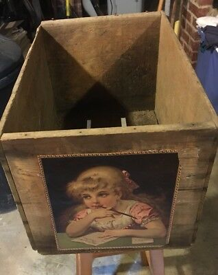 Antique Vintage Wooden Box / Crate: Vintage Picture of Young Girl;LOCAL PICKUP