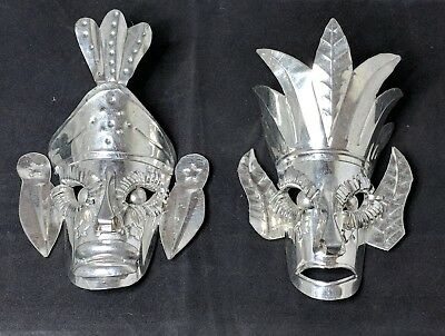 "Mexican Tin Folk Art Tribal Wall Masks - Ornaments 5"" Tall - Set of 2"