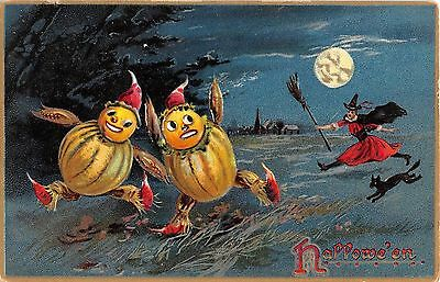 1908 Witch & Black Cat Chasing 2 Pumpkin People Halloween post card Tuck Goblins