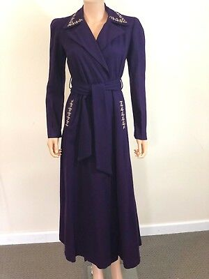Vibrant Purple Wool Robe- 1940's - with White Detailing
