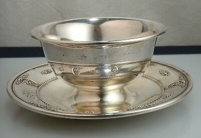 Wallace Sterling Silver Rose Point Gravy Bowl