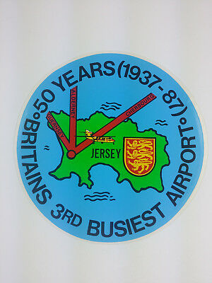 Jersey - Britain's 3rd Busiest Airport 50 Years 1937-87 Decal / Sticker