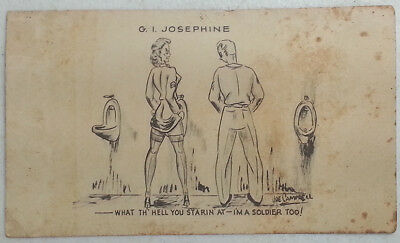 WWII G.I. Josephine at Urinal What the Hell You Starin at- I'm a Soldier Too!