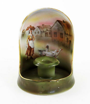 Antique Royal Bayreuth Bavaria Girl w Geese Shielded Chamber Candle Holdr c.1900