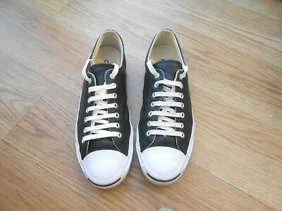 Converse Jack Purcell Black Leather Trainers  Size Uk 9.5  Vgc