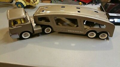 Vintage 1960S Structo Car Hauler Truck + Trailer Pressed Steel Toy