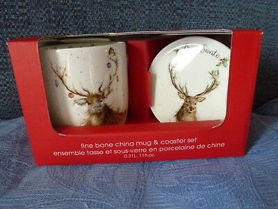 Royal Worcester Wrendale fine bone china Christmas Stag mug & coaster set- BNIB