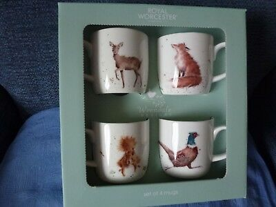 Set of 4 Wrendale mugs - deer, fox, squirrel, pheasant -  brand new in box