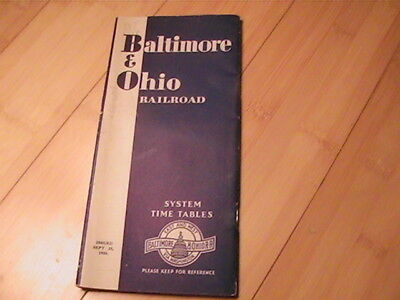 1938 Baltimore & Ohio Railroad Timetable With Map