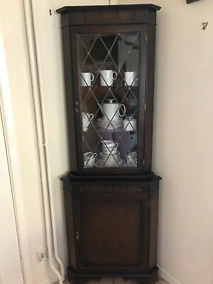 Antique Mahogany Solid Wood Glass Corner Unit Upcycle Opportunity