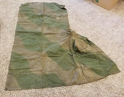 Original WW2 British Camouflaged Ground Sheet / rain cape, BEF 1939 1940