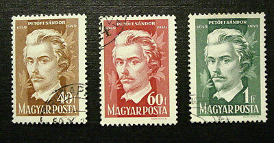 Hungary, 1949 Sandor  Petofi, Poet, Scott 848-850, 3 Stamps, Used