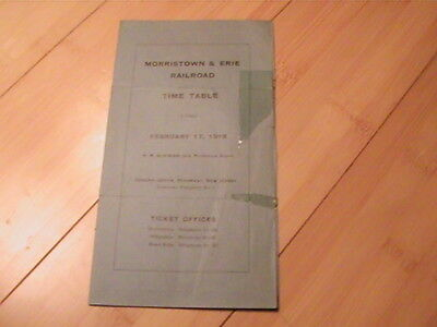 1918 Morristown & Erie Railroad Timetable New Jersey  War Tax Ad On Back   Rare