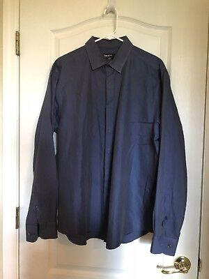 Men's Bar III Slim Fit Stretch Button Up L/S Shirt Blue Solid