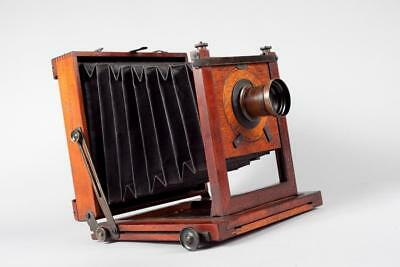 "Vintage~ c1890 ~ ""A Franks, Manchester"" 1/2 Plate Brass & Mahogany Camera"