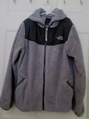 The North Face~Boys~Kids~Size Large~Gray Black Hooded  Fleece~Coat~Jacket