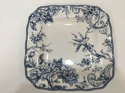 """222 Fifth Adelaide Blue & White Fine China Square Dinner Plate, 11"""" x 11"""""""