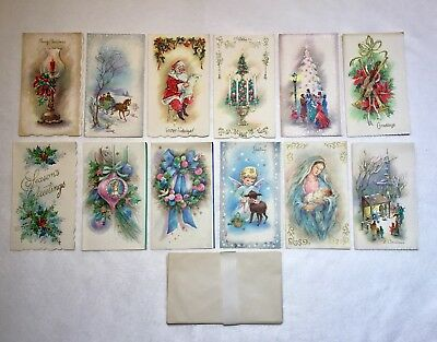 VINTAGE LOT OF 12 Unused Glittered Christmas Cards With Envelopes. 1950's.