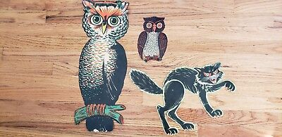 Vintage Beistle HALLOWEEN diecut Decorations 2 OWLs Jointed Cat-lot 3