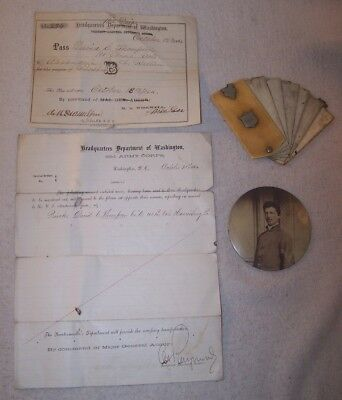 4 pc. Lot - Civil War Soldier - Pocket Calendar, 2 Documents & Photo Button - ID