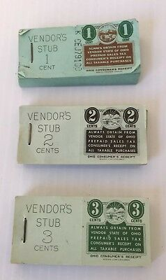 Lot of 300 Vintage State of Ohio Prepaid 1, 2, 3 Cent Prepaid Sales Tax Booklets