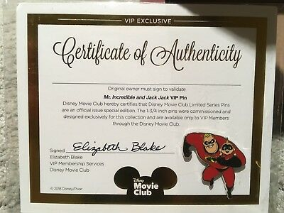 Disney The Incredibles  Movie Club Exclusive VIP Pin w/ COA *New & Sealed*