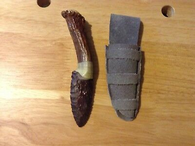 Flintknapped Knife -neck knife -Red Jasper blade Antler handle -flintknapping