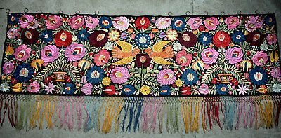 Giant Antique Hand  Embroidered  Silk Matyo Tapestry  176cm  69'3""