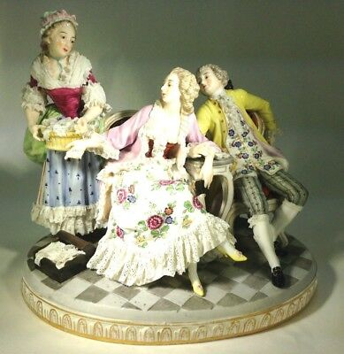 """Antique Early Large Grouping Royal Vienna """"The Lace Seller"""" Porcelain Figurine"""