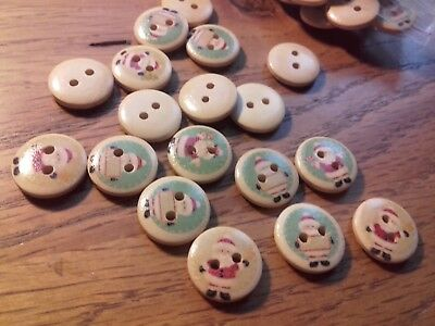 A Job Lot Wholesale 100 15mm Round  Mixed Christmas Ice Skating Snowman Buttons