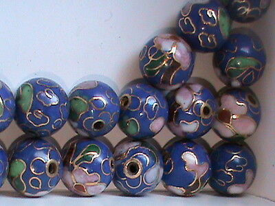 High Quality Vintage 10 MM Cloisonne Beads Round BLUE w/ Flowers