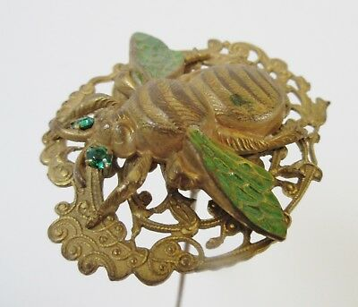 Antique Hatpin Large Bumblebee Enamel Wings Insect