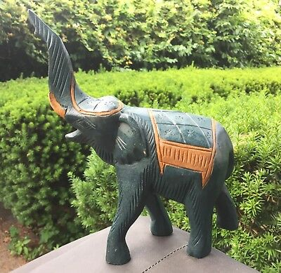 Vintage 1960s Hand Carved Wood Elephant