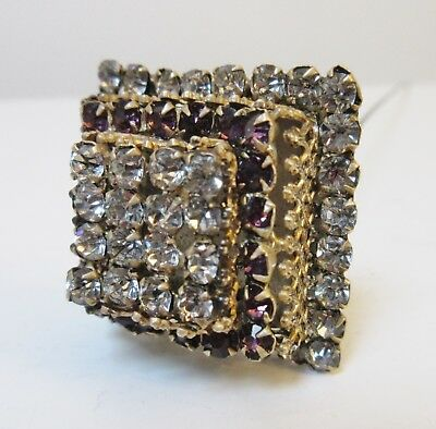 Antique Hatpin Square Tiered Amethyst Clear Rhinestones