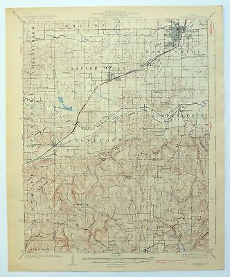 Harrisburg Illinois Vintage 1925 USGS Topo Map Carrier Mills Topographical