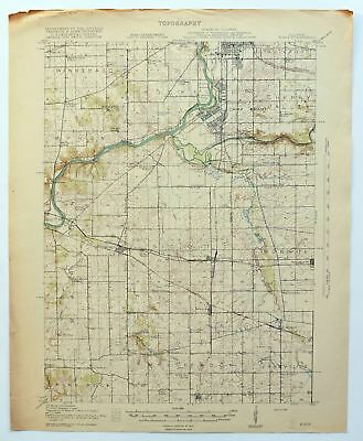Kings Illinois Antique 1918 USGS War Department Topo Map Rockford Topographical