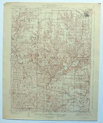 Mount Sterling Illinois Vintage 1929 USGS Topo Map Perry 15-minute Topographical