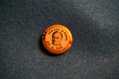 1934 Franklin Roosevelt New Deal in Pennsylvania Midterm Elections Button
