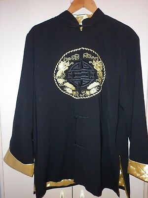 Vintage Chinese Black And Gold Embroidered  Jacket  Xxxl Excellent Condition