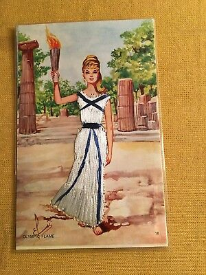 """New Vintage Greece Souvenir Postcard with Hand Embroidery """"Olympic Flame"""""""