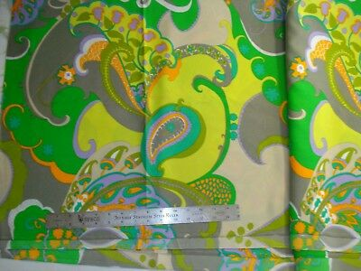 Vintage 60s - 70's Psychedelic Groovy Boho Vibrant Green Yellow Fabric 2-3/4 yd