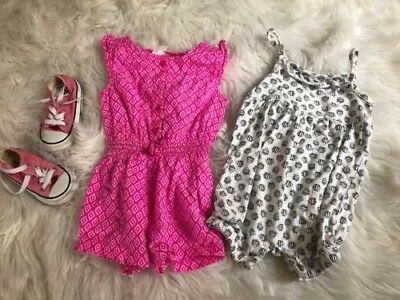Baby Girl 12 months Carter's Romper Pink & Fish Beach Cruise Summer Lot Outfits