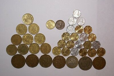 40 DIFFERENT COINS from CHILE (9 TYPES/1943+)