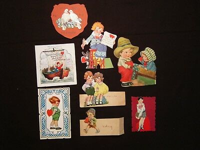 Eight antique valentines, mixed lot