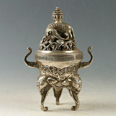 Chinese copper hand carved elephant hollowed out Incense Burner   DamingXuande