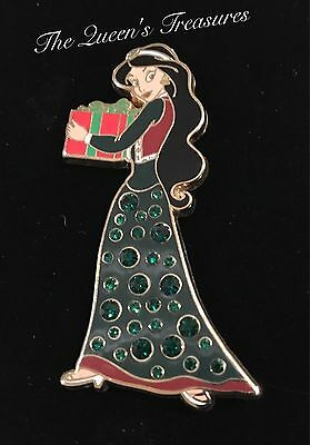 Disney Winter Holiday Christmas Pave Crystal Aladdin Jasmine Pin LE 250
