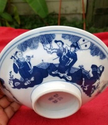 "Vintage signed Chinese or Japanese white & blue porcelain dish bowl 7"" round"