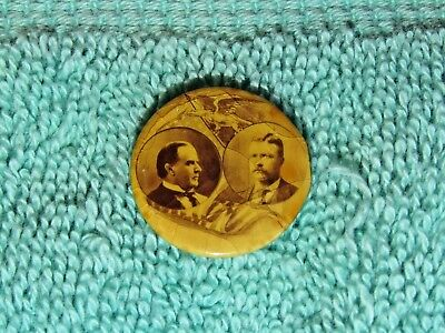 """Antique McKinley Roosevelt 1900 Presidential Campaign Pin 7/8"""""""
