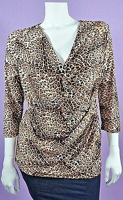 Milano Leopard Print Faux Wrap Blouse Tag Says Medium But Fits Like Extra Large
