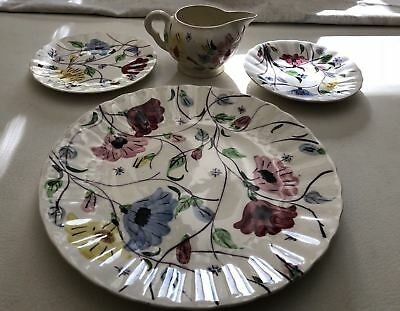 "Blue Ridge Pottery Chintz Pattern Lot of 4 Pieces, 10"" & 6"" plate, saucer, cream"